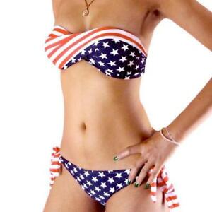 American Flag Bandeau Bikini Set