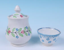 19thC. Stick Spatter Sponge Ware Sugar Bowl & Child Cup Staffordshire Pearlware