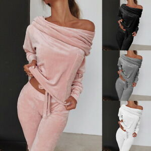 2 pieces Set Women Tracksuit 1 shoulder Sweatshirt Pants Sets Velvet Lounge Suit