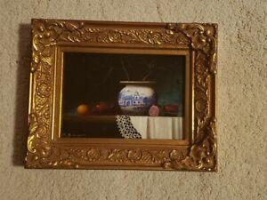 "David Berger Oil Painting Still Life Framed Listed Artist Signed 9.5x7.5"" VTG"