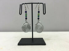 Sandcast Beaded African Masai Earrings Earrings Aluminum Loop Coiled Green