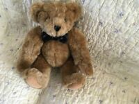 """Vermont Teddy Bear,vintage, 16 """" fully jointed Bear With Black bow tie and White"""