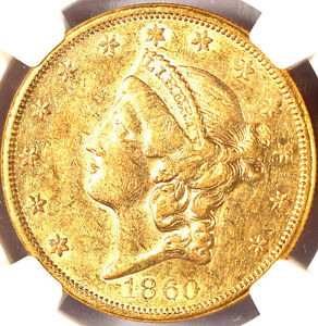 1860 $20 AU55 NGC-LIBERTY HEAD