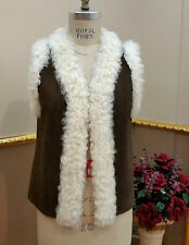 * Shearling Real Curly Lamb Fur Vest Coat sz M / 8 / EU 38 40  *$1395 Дублёнка