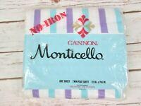 Canon Monticello Twin Flat Sheet Blue Purple Stripe No Iron Muslin 72 x 104 Vtg