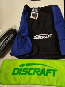 New DISCRAFT DRAW Blue STRING BAG + Microfiber Towel Water Bottle DISC GOLF Set