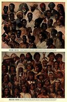 People of the World Ethnic types Africa & American Indians c. 1900 color print