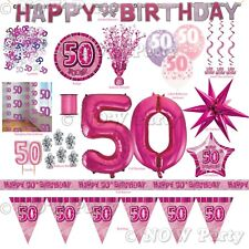Pink Girl Milestone Special 50th Age 50 Birthday Party Supplies Decorations