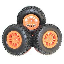 Traxxas 1/10 Slash 4X4 Spec Tires 12mm Orange Wheels Set Front Rear XL5 VXL