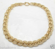 """18"""" Technibond Interlocking Double Curb Necklace 14K Yellow Gold Clad Silver"""