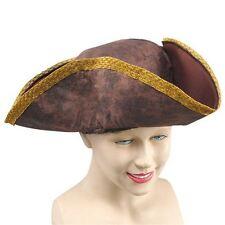 Carribean Pirate Captain Jack Hat Distressed Brown Gold Tricorn Hat Fancy  Dress 23a5b9571d50