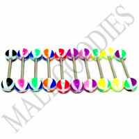 W060 Acrylic Tongue Rings Bars Barbells Stripes Shape Design LOT of 10 colors