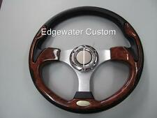EZ GO GOLF CART STEERING WHEEL & ADAPTER WOODGRAIN #550EZ