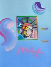 """PETER MAX """"liberty head"""" unique variation orig mixed media HAND SIGNED COA"""