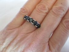 Black Spinel ring, 2.5 carats, size N/O, in 2.83 grams of 925 Sterling Silver