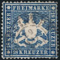 WÜRTTEMBERG, MiNr. 20 y, gestempelt, gepr. Heinrich, Mi. 2800,- R!