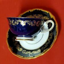 Reichenbach Echt Kobalt Cobalt Blue Gold Scroll Demitasse Cup & Saucer Set GDR