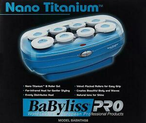 NEW BABYLISS PRO NANO TITANIUM 8 PIECE HOT ROLLER SET FAR INFRARED HEAT BABNTHS8