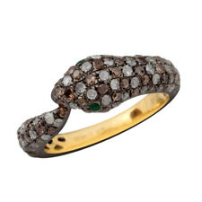 Snake Ring 925 Silver Antique Jewelry Natural Emerald 1.11ct Pave Diamond Gold