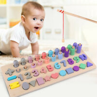 Montessori Number Wooden Kids Puzzle Count Fishing Learning Educational Math Toy