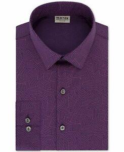 Kenneth Cole Reaction Mens Dress Shirt Purple Size 17 1/2 XL Slim Fit $69 #042
