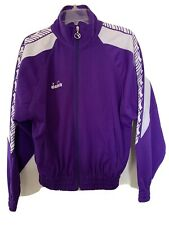 Vintage 90's Diadora Taped Track Top Jacket Rare Purple Full Zip Size YL Adult S