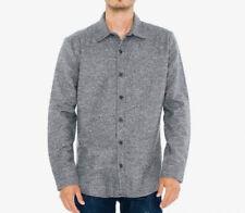 NWOT American Apparel Men's Button Down Gray Melange Flannel Shirt Size L