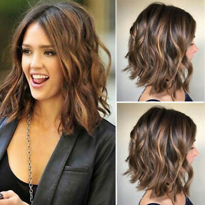 Women's Gradient Brown Short Curly Wig Bob Wavy Natural Fashion Full Hair Wigs