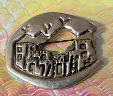 Saul Townscape Taxco ? Signed Vintage Solid Silver Brooch Taxco by