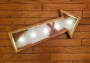 Studio Decor Heritage Home Wooden Rustic Vintage Looking Light Up Marquee Arrow