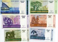 MADAGASCAR SET 6 PCS 100 200 500 1000 2000 5000 ARIARY 2004-2009 P 86-90 UNC