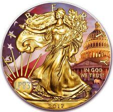 2017 1 Oz Silver PATRIOTIC EAGLE,WHITE HOUSE Coin W/BOX,COA - 24kt Gold Gilded.