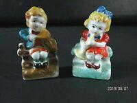 Two Vintage Hand Painted Mini Porcelain Figurines, Little Girl & Boy. Japan