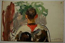 Russian Ukrainian Soviet Oil Painting socrealism portrait figure Young Pioneer