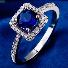 Anniversary Design Blue C.Z Women Lady White Gold Plated Rings Size 10