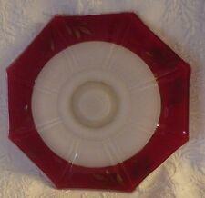 "Red White Decorative Plate Leaf Design Octagon 11"" Diameter"
