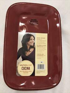 Stoneware Cucina Dinnerware Rectangular Platter Cranberry Red  8in x12 in Rustic