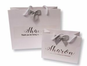 PERSONALISED WHITE GIFT BAG SILVER FOIL PRINT BIRTHDAY GIFT NAME PRESENT #017