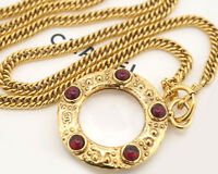 "CHANEL Red Gripoix Loupe Necklace 35"" Gold Tone w/BOX Excellent"
