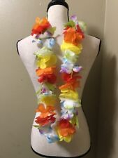 "(12) Jumbo 3"" RAINBOW Flower LEI Hawaiian Luau Beach Party Hula Dancer costume"