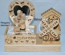 Penguins Dancing on nice music hand made from wood, lovely gift item decorative