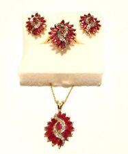 14k Yellow Gold Ruby & Diamond Earrings, Pendant & Ring Size 8.5