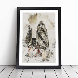 The Gherkin In London Watercolour Wall Art Framed Print Picture