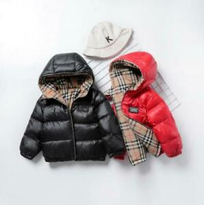 Winter Children Unisex Padded White Duck Down Jacket Double-sided Down Warm Coat