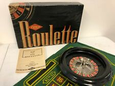 1940's Antique Roulette Wheel With Wheel, Ball, Mat, Instructions, and Box