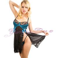 Sexy Chemise Babydoll Nightdress Plus Size 8-24 Lingerie Sleepwear Satin Lace UK