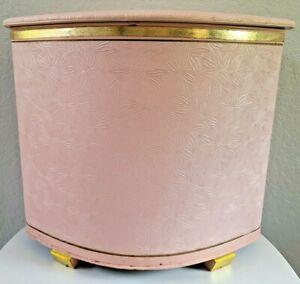 Vtg Pearl-Wick Hamper Basket Retro Pink Wicker Vinyl Mid Century Modern MCM MOD