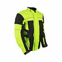 Men's Biker Hivis Black Yellow Motorcycle Jacket Textile Armoured All Weathers
