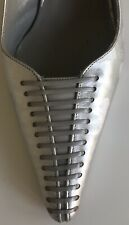 Renata Silver Leather Heels Size 37 or 5