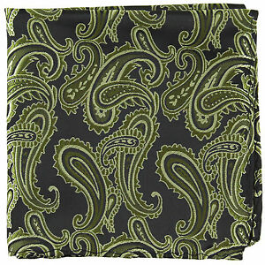 New Brand Q Men's  micro fiber Pocket Square Hankie Only Paisley Olive Prom